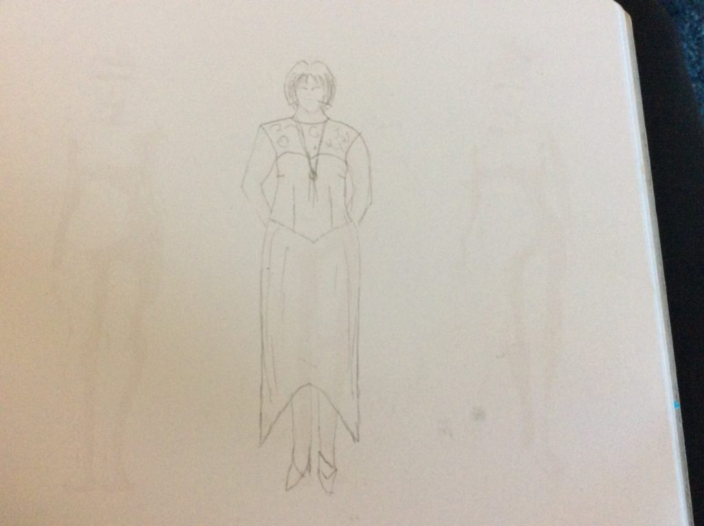 Design sketch for Lady Mary costume