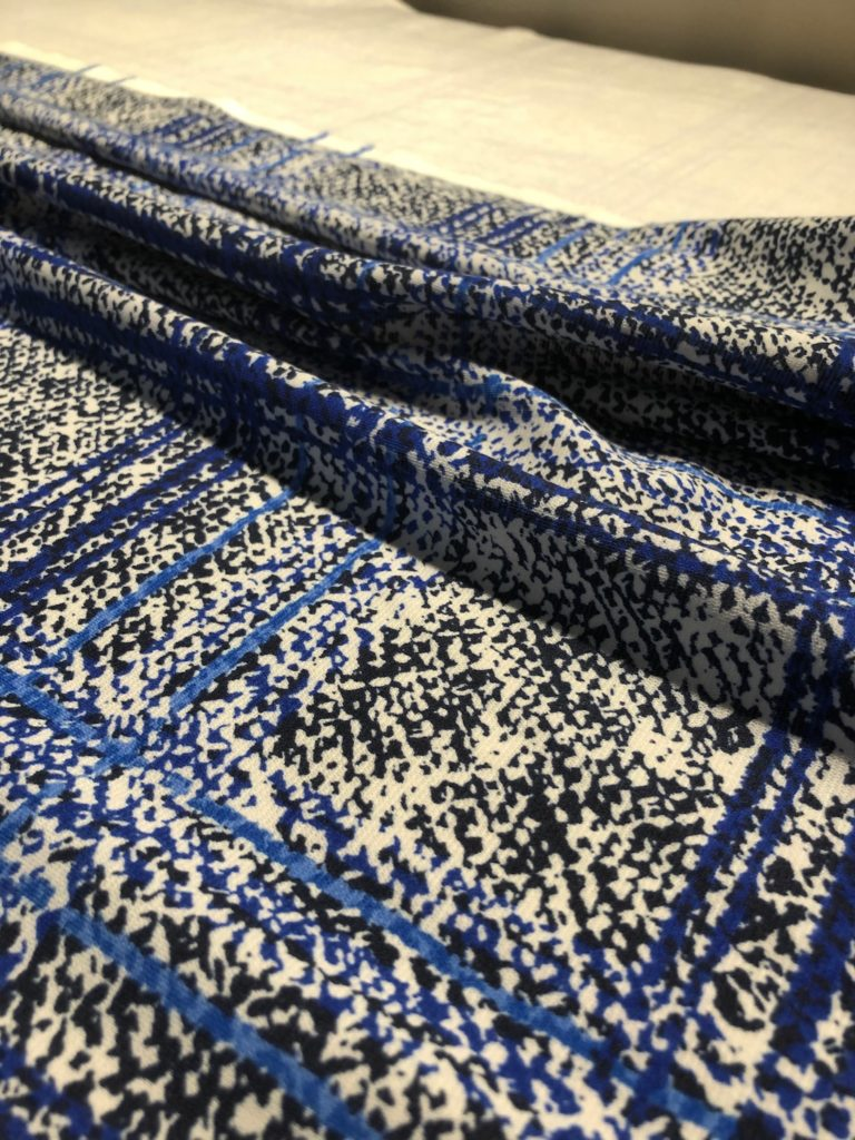 Snapshot of the blue and off-shite plaid ponte fabric